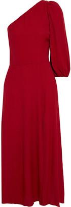 Reformation Persephone One-shoulder Printed Crepe Midi Dress