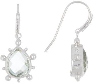 Anzie Sterling Silver Amethyst & Pave Sapphire Drop Earrings