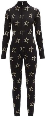 Perfect Moment Floro Star-intarsia Wool-blend Jumpsuit - Black Print