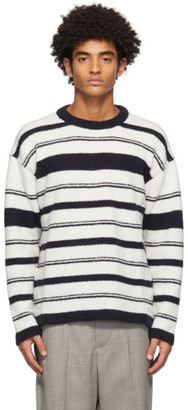 Our Legacy White and Navy Wool Sonar Sweater