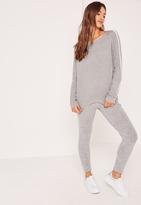 Missguided Grey Stripe Raglan Sweater