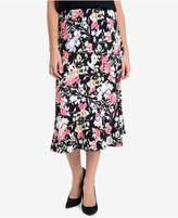 NY Collection Printed Midi Skirt