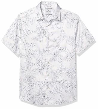 Azaro Uomo Men's Fancy Short Sleeve Button Down Casual Dress Shirt Bold Print