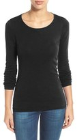 Petite Women's Caslon Long Sleeve Scoop Neck Cotton Tee
