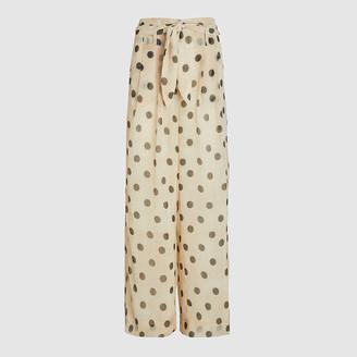 Nanushka Cream Nevada Polka Dots Chiffon Trousers L