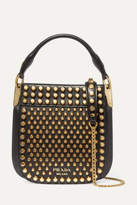 Prada Studded Leather Shoulder Bag - Black