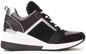 MICHAEL Michael Kors Paneled Suede, Leather And Stretch-knit Sneakers