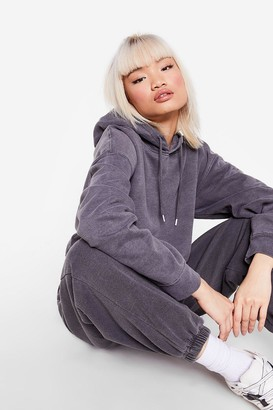 Nasty Gal Womens All Sweats Are Off Petite Hoodie and Joggers Set - Grey - L