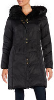 Via Spiga Faux Fur Collar Hooded Puffer Coat