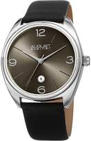 August Steiner Men's Quartz Stainless Steel and Leather Casual Watch, Color:Black (Model: AS8231SS)