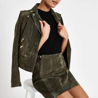 River Island Womens Khaki suede mini skirt