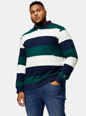 Topman BIG Ecru, Teal and Navy Stripe Rugby Long Sleeve T-Shirt*