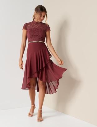 Forever New Cleo Petite Lace Two-in-One Midi Dress - Shiraz - 10
