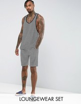 Asos Pyjama Set Racer Singlet &pyjama Bottoms In Stripe Velour