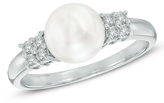 Zales 7.5mm Cultured Freshwater Pearl and 1/6 CT. T.W. Diamond Ring in Sterling Silver