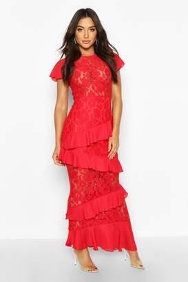 boohoo All Over Lace Ruffle Maxi Dress