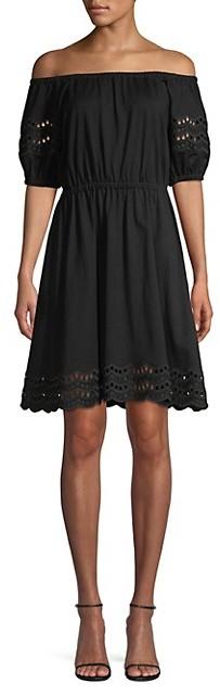 Kate Spade Scallop Border Knit Off-The-Shoulder A-Line Dress