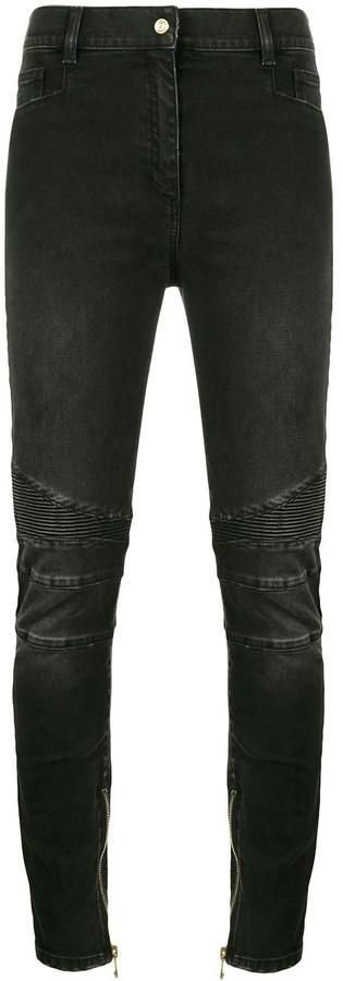Balmain Black Moto mid rise skinny jeans
