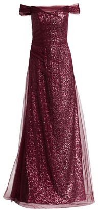 Rene Ruiz Collection Off-The-Shoulder Tulle Sequin A-Line Gown