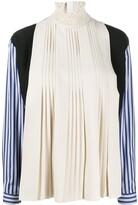 Prada striped sleeves pleated blouse