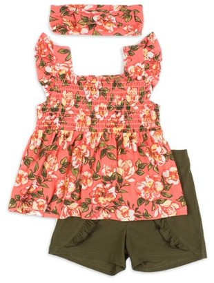 Little Lass Baby & Toddler Girl Floral Babydoll Tank Top, Shorts & Headband, 3pc Outfit Set