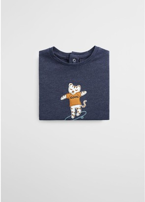 MANGO Baby Boys Cool Cat Applique Long Sleeve T-shirt