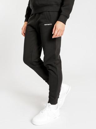 Carhartt Wip Script Embroidery Sweat Pants in Black White