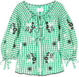 Innika Choo Smocked Embroidered Gingham Cotton Blouse - Green