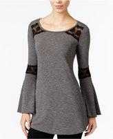 Amy Byer Juniors' Bell-Sleeve Top