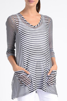 Lynn Ritchie Stripe Mesh Tunic Top