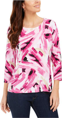 JM Collection Printed 3/4-Sleeve Jacquard Top