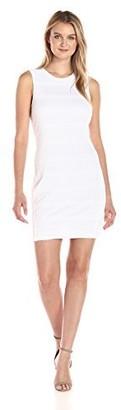 Armani Exchange A|X Women's Crew Neck Sleeveless Mesh Overlay Detail Bodycon Dress