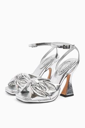 Topshop RAFI Silver Twist Flare Heels