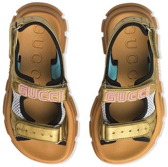 Gucci Kids Logo Applique Mesh Sandals