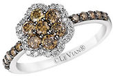 LeVian Chocolatier Vanilla Diamond, Chocolate Diamond and 14K Vanilla Gold Flower Ring