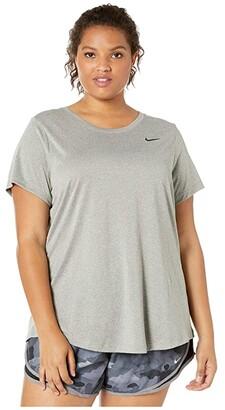 Nike Dry Legend Crew Tee (Sizes 1X-3X) (Dark Grey Heather/Black 1) Women's T Shirt