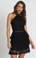 Showpo Miami Night dress in black lace - 6 (XS) Wedding Guest