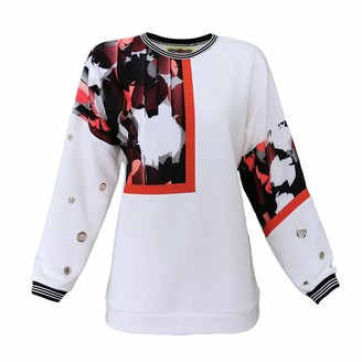 Lalipop Design White Sweatshirt With Eyelet Details & Abstract Camo Print