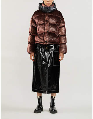 Moncler Caille metallic silk-blend quilted padded coat