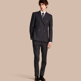 Burberry Slim Fit Double-breasted Pinstripe Wool Suit , Size: 56r, Blue