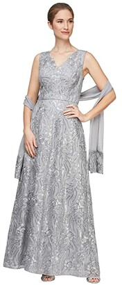 Alex Evenings Long Embroidered Sleeveless V-Neck Dress (Silver) Women's Dress