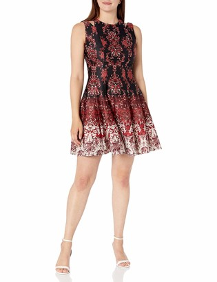 Gabby Skye Women's Sleeveless Round Neck Scuba Fit and Flare Dress w. Cut Out