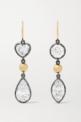 Jessica McCormack Gypset 18-karat Yellow And Blackened White Gold Diamond Earrings - One size
