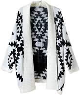 AWEIDS Aztec Geometric Print Batwing Knitwear Oversized Open Front Cardigan