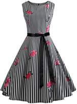 Wellwits Women's Rose s Sash Waist Tie Vintage Work Dress 2XL