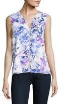 T Tahari Embellished Floral Shell