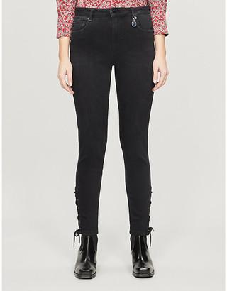 Ted Baker Lattice-trim stretch-denim jeans