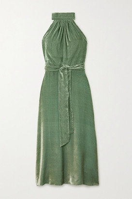 HARMUR Velvet Halterneck Wrap Midi Dress - Green