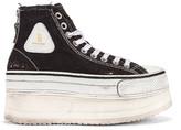 R 13 Platform High Top Sneaker in Black | FWRD