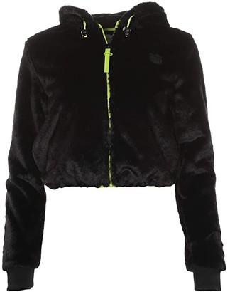 Fila Berna Faux Fur Hoodie (Black) Women's Sweatshirt